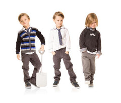 Deux Par Deux Petit Gentleman Boy's Knit Vest Grey V Neck Vest Fall 2014 - Rebelle Kids - 2