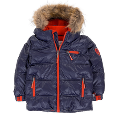 Deux Par Deux Fluffy Puffy Boys Jacket Navy Blue with Fur Trim - Rebelle Kids - 1