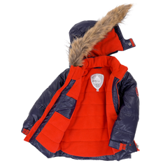 Deux Par Deux Fluffy Puffy Boys Jacket Navy Blue with Fur Trim - Rebelle Kids - 2
