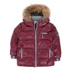 Deux Par Deux Fluffy Puffy Boys Jacket Burgundy with Fur Trim - Rebelle Kids - 2