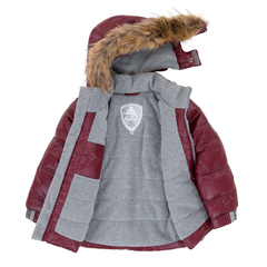 Deux Par Deux Fluffy Puffy Boys Jacket Burgundy with Fur Trim - Rebelle Kids - 3