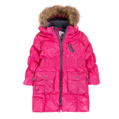 Deux Par Deux Fluffy Puffy Girls Long Coat Fuchsia With Fur Trim Size 3 to 12 Years - Rebelle Kids - 2