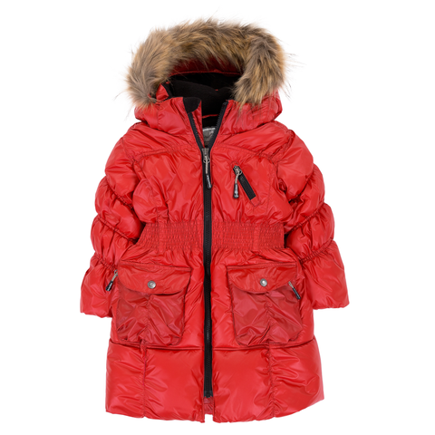 Deux Par Deux Fluffy Puffy Girls Long Coat Lipstick Red With Fur Trim Size 3 to 12 Years - Rebelle Kids - 1