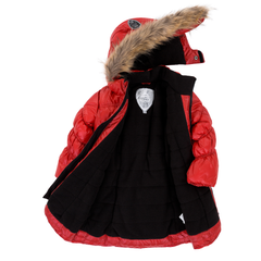 Deux Par Deux Fluffy Puffy Girls Long Coat Lipstick Red With Fur Trim Size 3 to 12 Years - Rebelle Kids - 2
