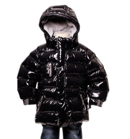 Deux Par Deux Fluffy Puffy Boys Jacket Anthracite Black - Rebelle Kids - 1