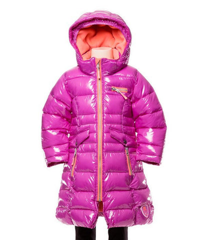 Deux Par Deux Fluffy Puffy Girls Long Coat Purple Cactus with Pink Trim - Rebelle Kids - 1