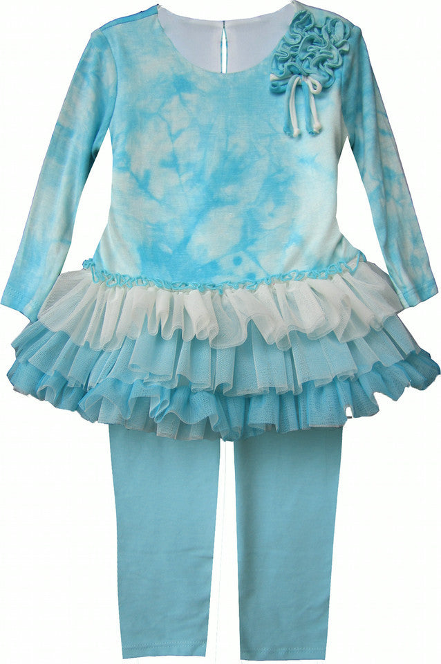 Isobella & Chloe Aria Sky Blue and White 2 piece Tunic Tulle Set - Rebelle Kids