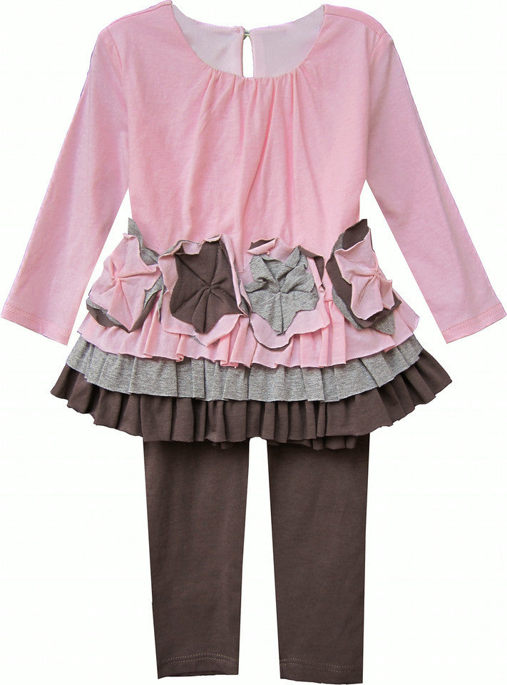 Isobella & Chloe Sweet Pea Pink and Brown 2 piece Tunic Tulle Set - Rebelle Kids