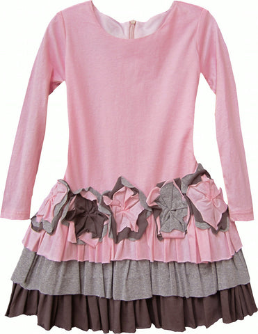 Isobella & Chloe Sweet Pea Pink and Brown Tulle Dress - Rebelle Kids