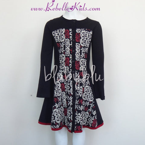Blu By Blu Cherry Pop Ruby and Black Dress - Rebelle Kids