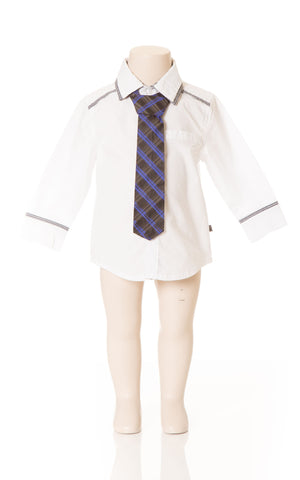 Deux Par Deux Petit Gentleman Boy's White Dress Shirt with Blue and Black Check Tie Fall 2014 - Rebelle Kids - 1