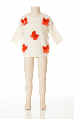 Deux Par Deux Girls Pret a Feter White Sweater with Red Bows Holiday Size 4, 5, 6, 7 - Rebelle Kids - 1