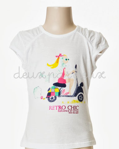 Deux Par Deux Girls Retro Chic Vespa T-Shirt - Rebelle Kids - 1