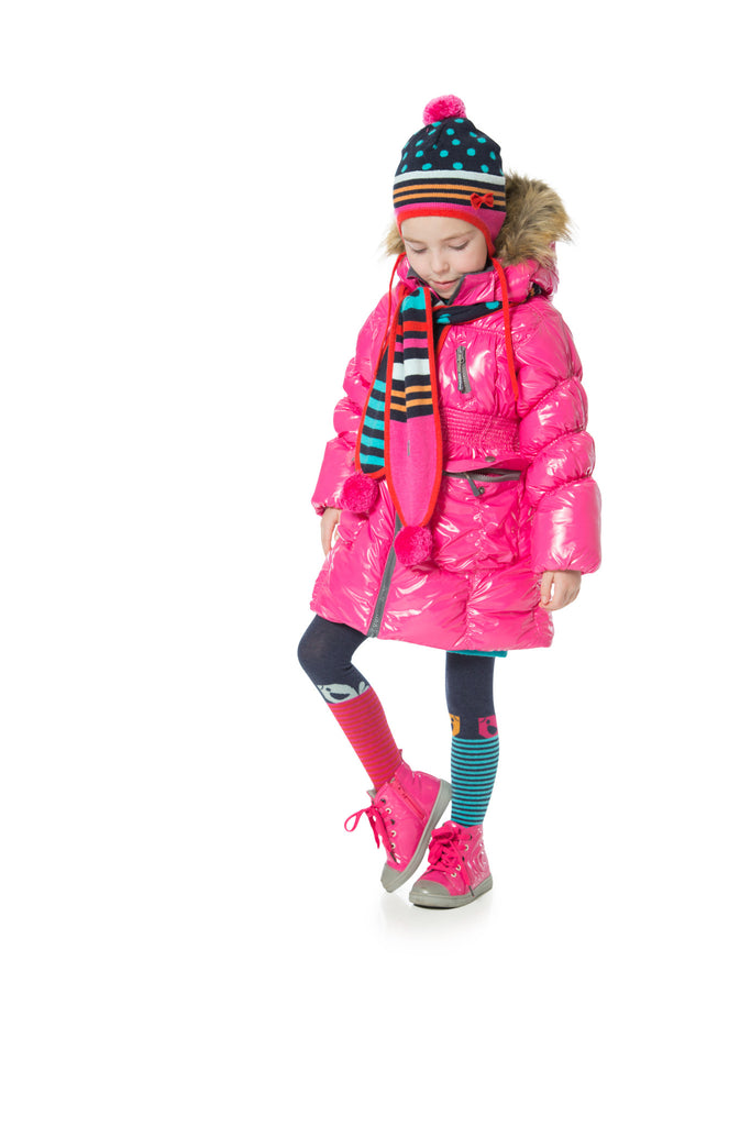 Deux Par Deux Fluffy Puffy Girls Long Coat Fuchsia With Fur Trim Size 3 to 12 Years - Rebelle Kids - 1