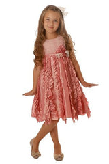 Isobella & Chloe Candied Ginger Ruffle Pink Formal Tulle Dress - Rebelle Kids - 2