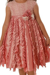 Isobella & Chloe Candied Ginger Ruffle Pink Formal Tulle Dress - Rebelle Kids - 3