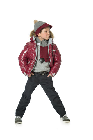 Deux Par Deux Fluffy Puffy Boys Jacket Burgundy with Fur Trim - Rebelle Kids - 1