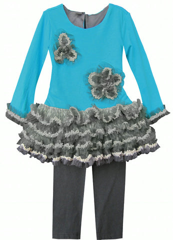 Isobella & Chloe Sophia Teal Blue and Grey 2 piece Tunic Tulle Set - Rebelle Kids