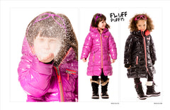 Deux Par Deux Fluffy Puffy Girls Long Coat Purple Cactus with Pink Trim - Rebelle Kids - 3