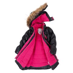 Deux Par Deux Fluffy Puffy Girls Long Coat Black With Fur Trim Size 3 to 12 Years - Rebelle Kids - 2