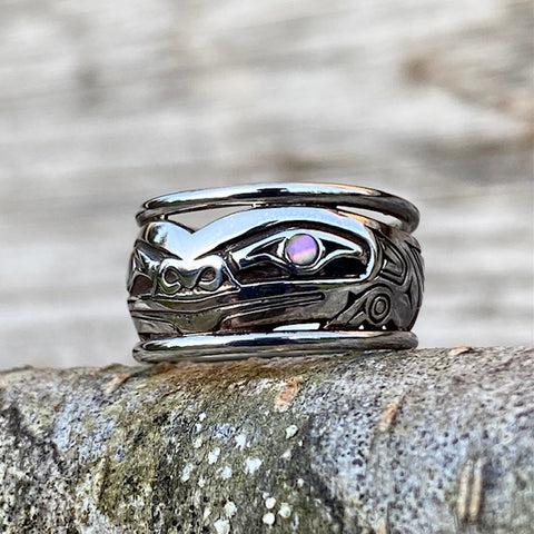 Sterling Silver Frog Ring by Haida Indigenous Artist Norman Bentley. Sold by Crystal Cabin.