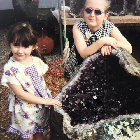 Crystal Cabin historical photo with large amethyst geode