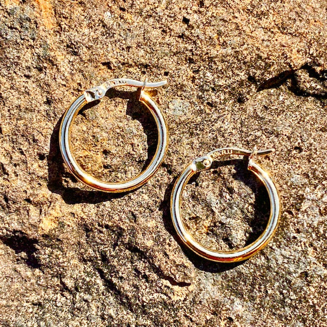 10k Yellow Gold Medium Hoop Huggie Earrings sold in British Columbia, Canada by Crystal Cabin.