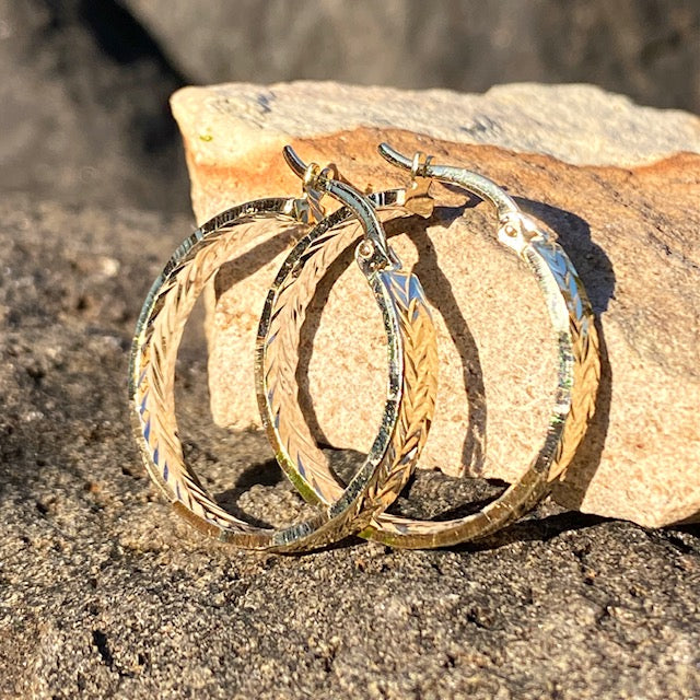 10k Yellow Gold Large Hoop Huggie Textured Earrings. Sold in British Columbia, Canada by Crystal Cabin.