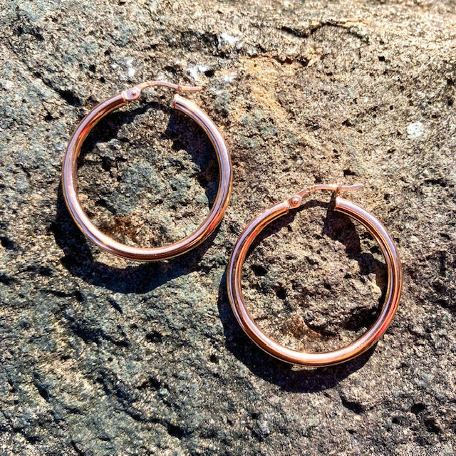 10k Rose Gold Large Hoop Huggie Hollow Earrings. Sold in British Columbia, Canada by Crystal Cabin.