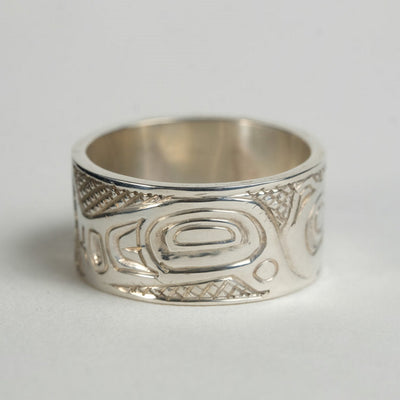 14K Gold Flowers on Silver Haida Hummingbird Ring