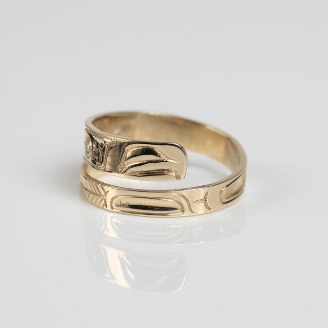 Narrow 14K Gold Eagle Wrap Ring with Diamond