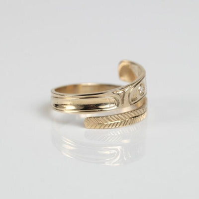 14K Gold Diamond Haida Eagle Wrap Ring