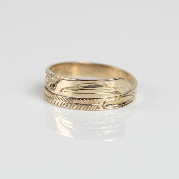 14K Gold Diamond Haida Raven Wrap Ring