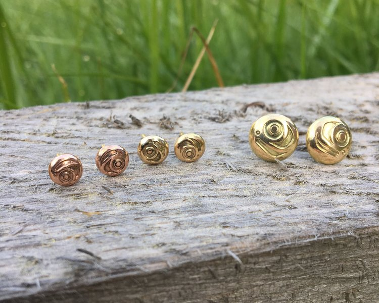 Rose & Yellow Gold Haida Salmon Egg Stud Earrings by Haida Indigenous Canadian artist Norman Bentley sold by Crystal Cabin.