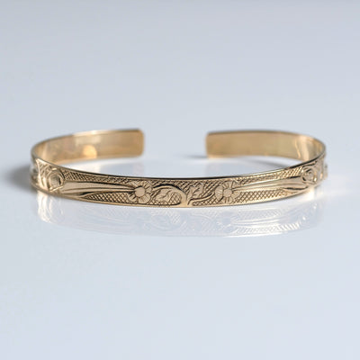 14K Yellow Gold Haida Indigenous Canadian Hummingbird Bracelet by Haida artist Carmen Goertzen sold by Crystal Cabin.