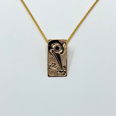 14K Yellow Gold Hand Engraved Hummingbird Necklace Pendant by Haida Indigenous Northwest Coast Native Artist Carmen Goertzen sold by Crystal Cabin.