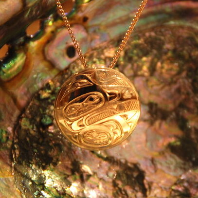 Gold Raven Steals the Light Necklace