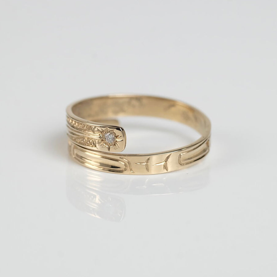 14K Gold Diamond Haida Hummingbird Wrap Ring