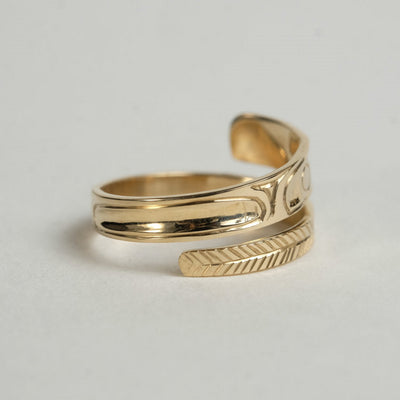 14K Gold Haida Eagle Wrap Ring