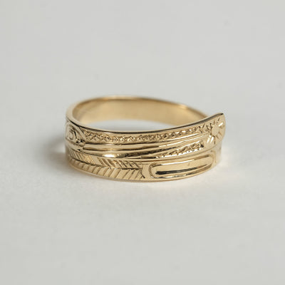 14K Gold Haida Hummingbird Wrap Ring