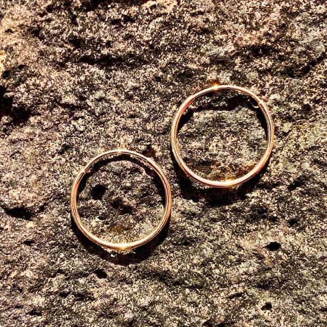 10k Yellow Gold Hoop Huggie Sleeper Earrings sold in British Columbia, Canada by Crystal Cabin.