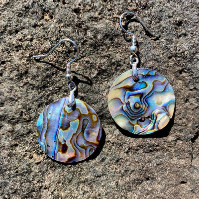 Genuine small paua abalone shell earrings. Sold by Crystal Cabin.