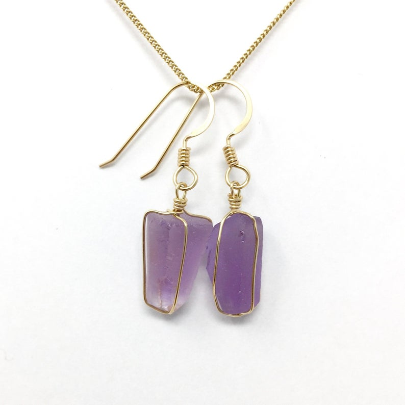 Handmade Amethyst Gold Wire Wrap Energy Crown Chakra Healing Earrings sold by Crystal Cabin.