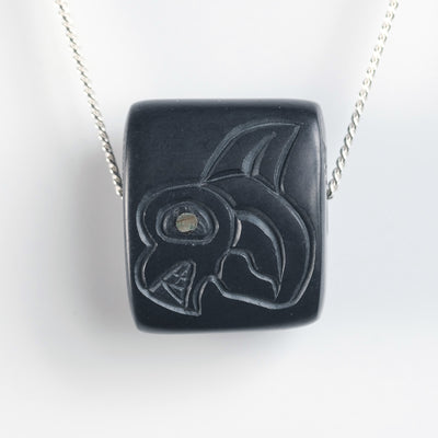 Haida Argillite Killer Whale Orca Bead Stone Carved Necklace by Haida Indigenous Northwest Coast Native Canadian artist Amy Edgars