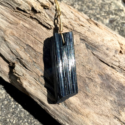 Black Tourmaline with Gold Necklace sold by Crystal Cabin