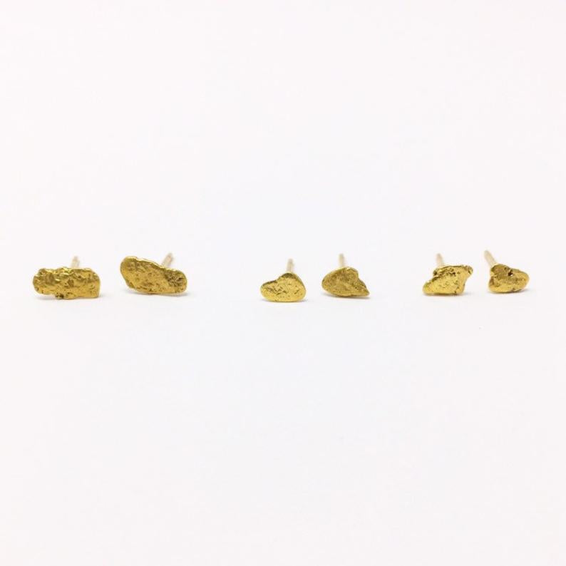 Canadian Authentic Eco-friendly Sustainable Gold Nugget Stud Earrings sold by Crystal Cabin from British Columbia.
