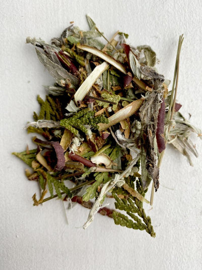 This Canadian smudge kit mix includes Sage, Sweetgrass, Cedar & Kinnikinnik healing herbs incense stick ceremony & is picked by Indigenous First Nations Aboriginal elders & is sold by Crystal Cabin.