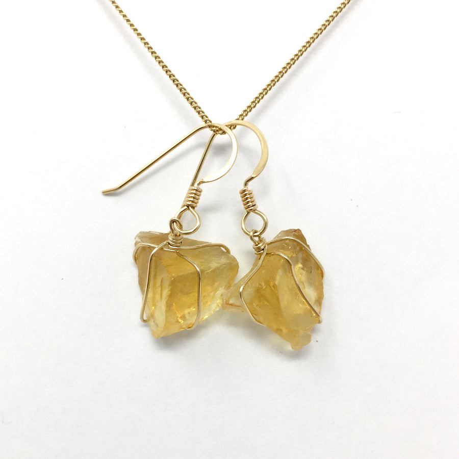 Citrine Gold Wire Wrap Earrings