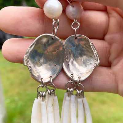 Sterling Silver with Dentalium, Diamond & Freshwater Pearl Earrings by Tsimshian Indigenous Canadian Native Northwest Coast jeweller Morgan Asoyuf.