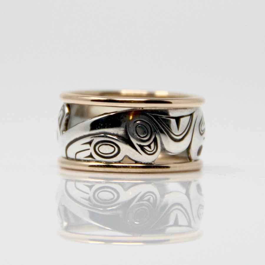 Gold & Silver Haida Bear Bentley Ring